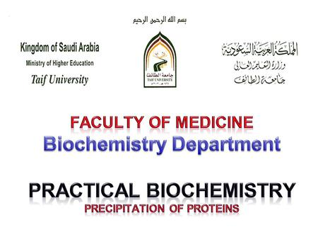 Faculty of Medicine Biochemistry Department Practical Biochemistry Precipitation of Proteins A/Prof. Magdy Elnashar (Preparatory Year)