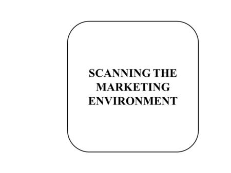 SCANNING THE MARKETING ENVIRONMENT. Environmental Scanning The process of continually acquiring information on events* occurring outside the organization.