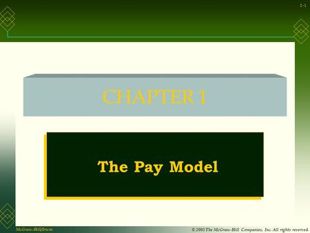 McGraw-Hill/Irwin © 2005 The McGraw-Hill Companies, Inc. All rights reserved. 1-1 CHAPTER 1 The Pay Model.