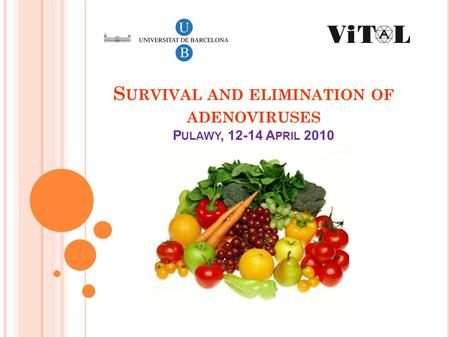 S URVIVAL AND ELIMINATION OF ADENOVIRUSES P ULAWY, 12-14 A PRIL 2010.