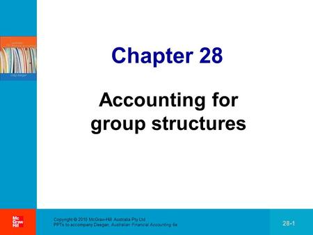 . Copyright  2010 McGraw-Hill Australia Pty Ltd PPTs to accompany Deegan, Australian Financial Accounting 6e 28-1 Chapter 28 Accounting for group structures.