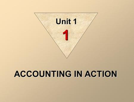 ACCOUNTING IN ACTION Unit 1 1 Gerald Trenholm 7 MacCauly Drive Fredericton NB Identification Select economic events (transactions ) Recording Record,