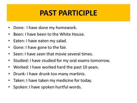 past participle examples list pdf