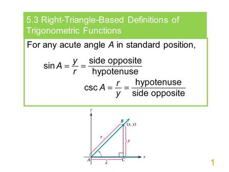 1 5.3 Right-Triangle-Based Definitions of Trigonometric Functions For any acute angle A in standard position,