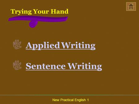 New Practical English 1 Trying Your Hand Applied Writing Sentence Writing.
