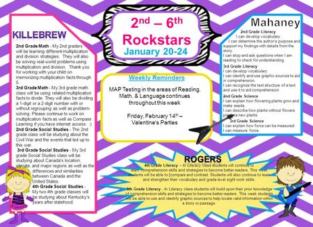 2 nd – 6 th Rockstars January 20-24 Weekly Reminders 4th Grade Literacy – In Literacy class students will continue to learn comprehension skills and strategies.