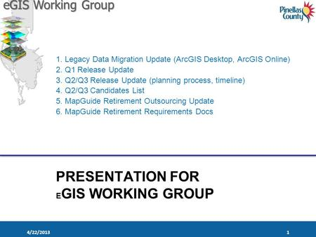 EGIS Working Group PRESENTATION FOR E GIS WORKING GROUP 1. Legacy Data Migration Update (ArcGIS Desktop, ArcGIS Online) 2. Q1 Release Update 3. Q2/Q3 Release.