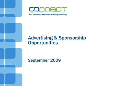Advertising & Sponsorship Opportunities September 2009.