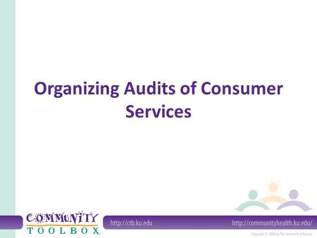 Organizing Audits of Consumer Services. What is an audit of services? An audit is a formal inspection; conducted by someone from outside the entity being.