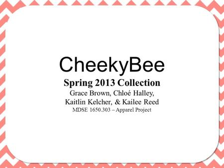 CheekyBee Spring 2013 Collection Grace Brown, Chloé Halley, Kaitlin Kelcher, & Kailee Reed MDSE 1650.303 – Apparel Project.