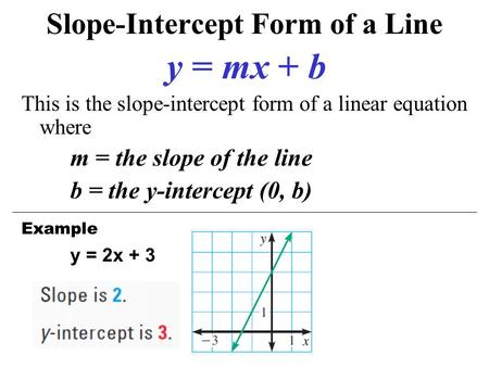 2.6 Finding equations of lines. Review Slope-Intercept Form: y ...