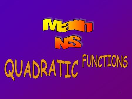 1. 2 Any function of the form y = f (x) = ax 2 + bx + c where a  0 is called a Quadratic Function.