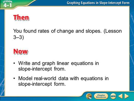 Then/Now You found rates of change and slopes. (Lesson 3–3) Write and graph linear equations in slope-intercept from. Model real-world data with equations.