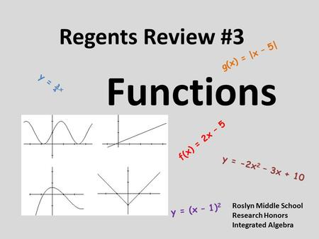 Regents Review #3 Functions f(x) = 2x – 5 y = -2x 2 – 3x + 10 g(x) = |x – 5| y = ¾ x y = (x – 1) 2 Roslyn Middle School Research Honors Integrated Algebra.