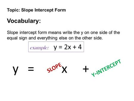 Topic: Slope Intercept Form Vocabulary: Slope intercept form means write the y on one side of the equal sign and everything else on the other side. y =