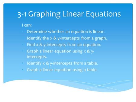 3-1 Graphing Linear Equations I can: Determine whether an equation is linear. Identify the x & y-intercepts from a graph. Find x & y-intercepts from an.