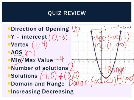 Quiz review Direction of Opening Y – intercept Vertex AOS