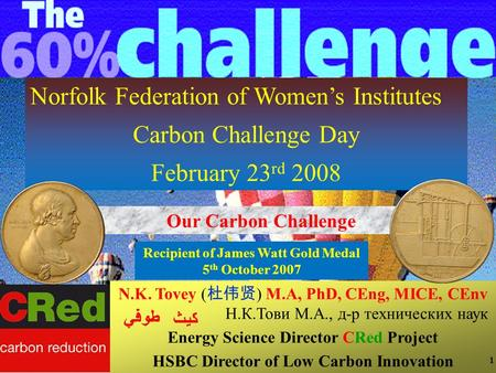 1 Norfolk Federation of Women's Institutes Carbon Challenge Day February 23 rd 2008 Our Carbon Challenge N.K. Tovey ( 杜伟贤 ) M.A, PhD, CEng, MICE, CEnv.
