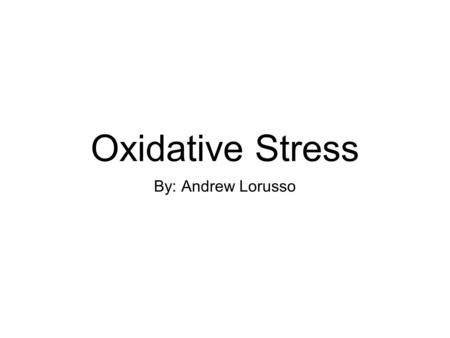 Oxidative Stress By: Andrew Lorusso. Overview Alvaro Estevez an associate professor at the University of Central Florida led a multi-university team that.