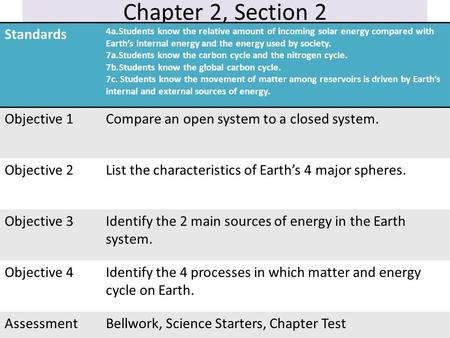 Chapter 2, Section 2 Standards 4a.Students know the relative amount of incoming solar energy compared with Earth's internal energy and the energy used.