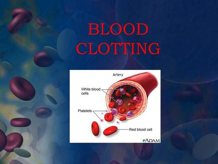 BLOOD CLOTTING. When you cut your finger and it bleeds, your body fixes it by a scab forming over the injury. This is your blood clotting to allow the.