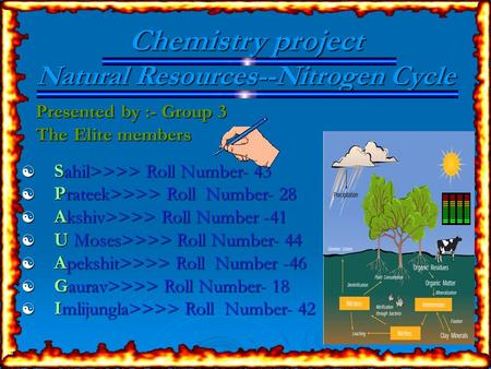 Chemistry project Natural Resources--Nitrogen Cycle Presented by :- Group 3 Presented by :- Group 3 The Elite members The Elite members  Sahil>>>> Roll.