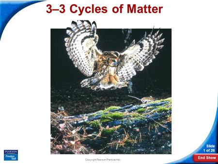 End Show Slide 1 of 26 Copyright Pearson Prentice Hall 3–3 Cycles of Matter.
