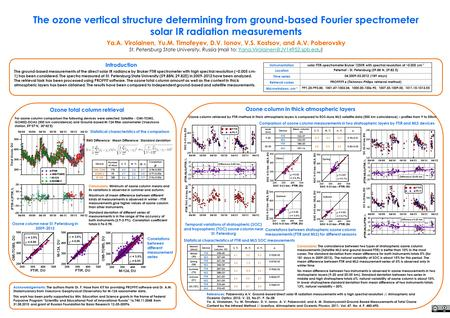 The ozone vertical structure determining from ground-based Fourier spectrometer solar IR radiation measurements Ya.A. Virolainen, Yu.M. Timofeyev, D.V.