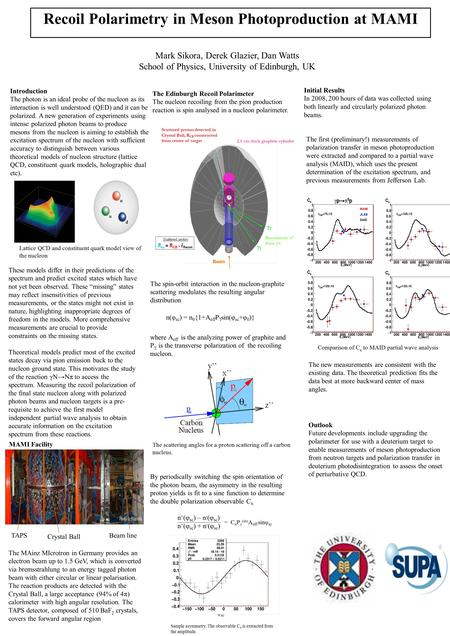 Recoil Polarimetry in Meson Photoproduction at MAMI Mark Sikora, Derek Glazier, Dan Watts School of Physics, University of Edinburgh, UK Introduction The.