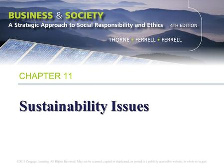 CHAPTER 11 Sustainability Issues. Chapter Objectives To define the nature of sustainability as it relates to social responsibility To explore a variety.