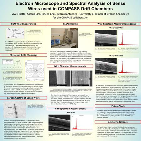 Electron Microscope and Spectral Analysis of Sense Wires used in COMPASS Drift Chambers Vivek Britto, Soobin Lim, IhnJea Choi, Pedro Montuenga – University.
