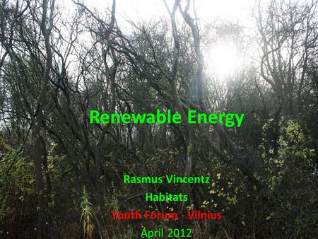Renewable Energy Rasmus Vincentz Habitats Youth Forum - Vilnius April 2012.