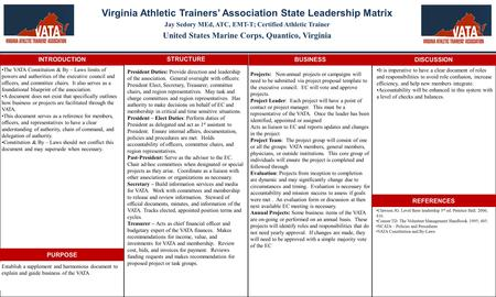 Virginia Athletic Trainers' Association State Leadership Matrix Jay Sedory MEd, ATC, EMT-T; Certified Athletic Trainer United States Marine Corps, Quantico,