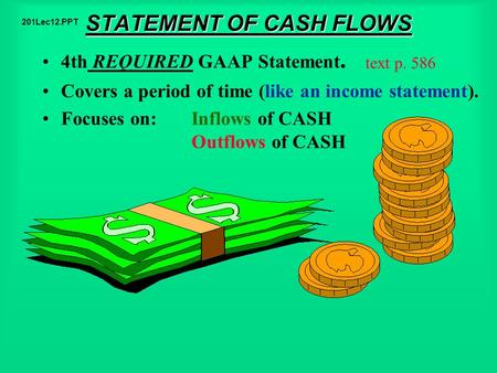 STATEMENT OF CASH FLOWS 4th REQUIRED GAAP Statement. Covers a period of time (like an income statement). Focuses on: Inflows of CASH Outflows of CASH text.