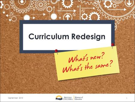 1 September 2015 Curriculum Redesign. What are the new directions? What will stay the same? Increased flexibility and space for teacher innovation, student.
