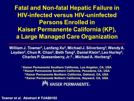 Fatal and Non-fatal Hepatic Failure in HIV-infected versus HIV-uninfected Persons Enrolled in Kaiser Permanente California (KP), a Large Managed Care Organization.
