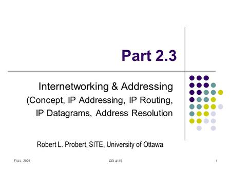 FALL, 2005CSI 41181 Part 2.3 Internetworking & Addressing (Concept, IP Addressing, IP Routing, IP Datagrams, Address Resolution Robert L. Probert, SITE,
