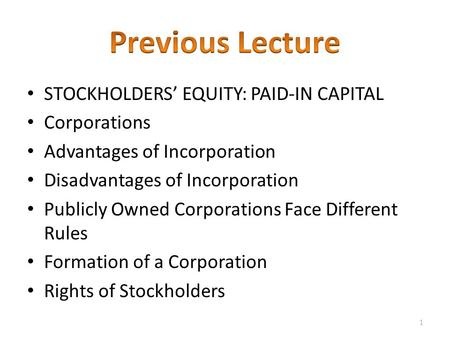 STOCKHOLDERS' EQUITY: PAID-IN CAPITAL Corporations Advantages of Incorporation Disadvantages of Incorporation Publicly Owned Corporations Face Different.
