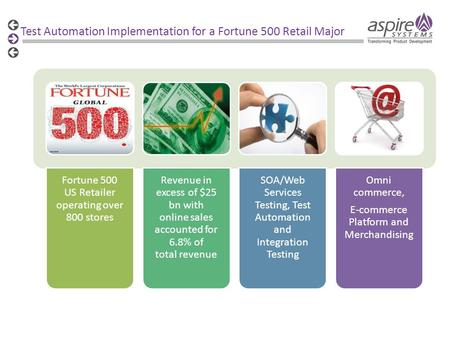 Test Automation Implementation for a Fortune 500 Retail Major Fortune 500 US Retailer operating over 800 stores Revenue in excess of $25 bn with online.