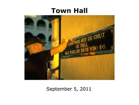 Town Hall September 5, 2011. 2 The Citadel Mission Educate and prepare graduates to become principled leaders in all walks of life by instilling the core.