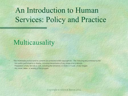 Copyright © Allyn & Bacon 2002 An Introduction to Human Services: Policy and Practice Multicausality §This multimedia product and its contents are protected.