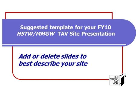Suggested template for your FY10 HSTW/MMGW TAV Site Presentation Add or delete slides to best describe your site.