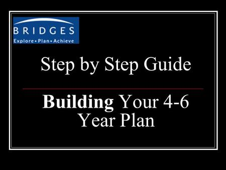 Step by Step Guide Building Your 4-6 Year Plan. Go to www.bridges.comwww.bridges.com Go to Student Sign In Portfolio name: amaisd + 6 digit id # Example: