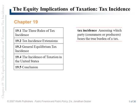 Chapter 19 The Equity Implications of Taxation: Tax Incidence © 2007 Worth Publishers Public Finance and Public Policy, 2/e, Jonathan Gruber 1 of 36 19.5.