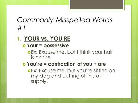 Commonly Misspelled Words #1