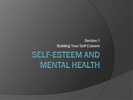 Section 1 Building Your Self Esteem. What is Self-Esteem?  Why is it important to have high self- esteem?  What are some risks of having low self- esteem?