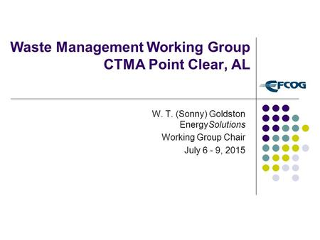 Waste Management Working Group CTMA Point Clear, AL W. T. (Sonny) Goldston EnergySolutions Working Group Chair July 6 - 9, 2015.