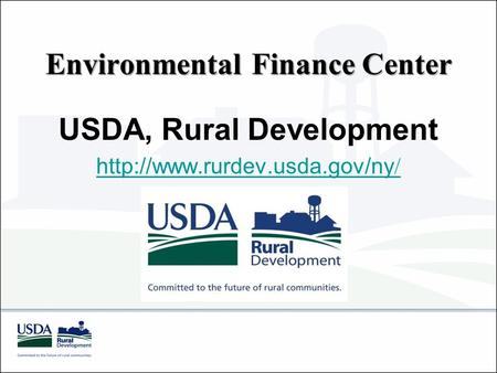 Environmental Finance Center USDA, Rural Development  /