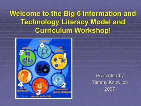 Presented by Tammy Knowlton 2007 Welcome to the Big 6 Information and Technology Literacy Model and Curriculum Workshop!