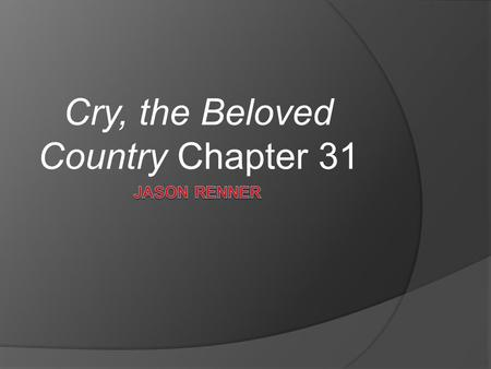cry, the beloved country by alan paton essay Free essay: cry, the beloved country, written by one of the greatest writers of south africa, is the compelling story of how man-made evils in the city of.